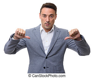 businessman showing his thumbs down