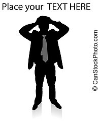 businessman showing loss on an isolated background