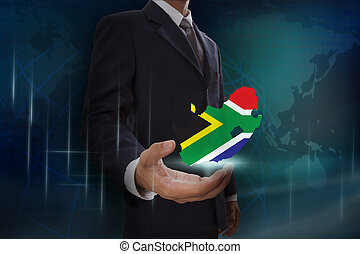 Businessman showing map of South Africa map on globe background
