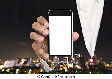 Businessman showing mobile phone