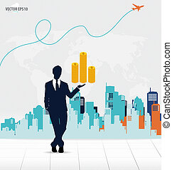 Businessman showing money with building background. Vector illus