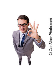 Businessman showing ok gesture isolated on white
