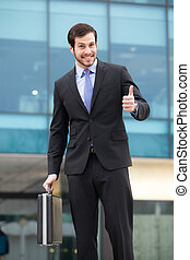 businessman showing ok sign