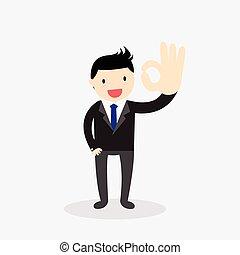 Businessman showing okay hand gestu