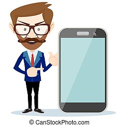 Businessman showing phone smartphon