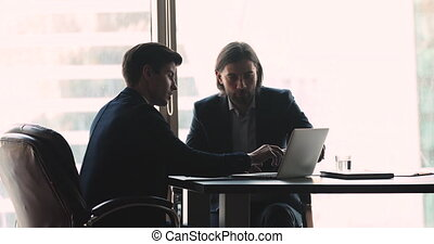 Businessman showing presentation sell online startup project to business investor
