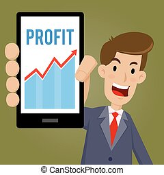 Businessman holding smartphone and showing profit sales chart, vector illustration
