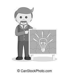 businessman showing puzzle idea black and white style