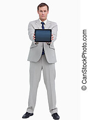 Businessman showing screen of his tablet computer
