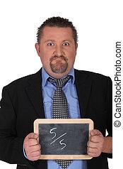 Businessman showing slate on white background