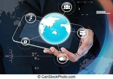 Businessman showing smart phone