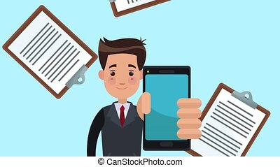 Businessman showing smartphone HD animation