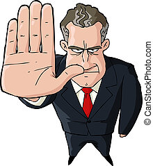 Businessman showing stop gesture on white background vector...