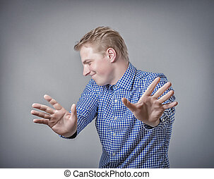 Businessman showing stop hand sign