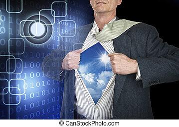 Businessman showing superhero suit underneath his shirt standing against black technology background