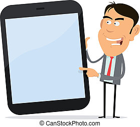 Businessman Showing Tablet PC - Illustration of a cartoon...