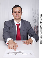 Businessman showing the path for success