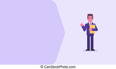 Businessman showing thumbs up holding folder and smiling. Video concept