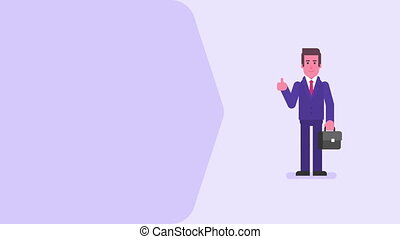 Businessman showing thumbs up holding suitcase and smiling. Video concept