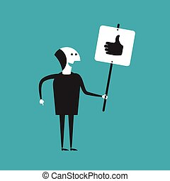 Businessman showing thumbs up poster vector concept in flat cartoon style