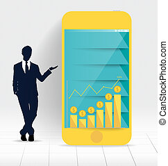 Businessman showing touchscreen device with graph and Infographi