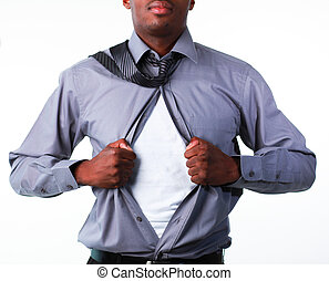 Businessman showing tshirt under his suit - Afro-American...