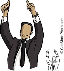 businessman showing two thumbs up over his head vector illustration sketch doodle hand drawn with black lines isolated on white background