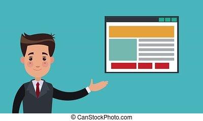 Businessman showing website HD animation - Businessman...