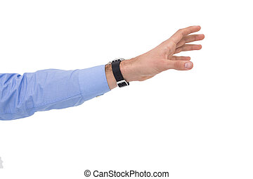 Businessman showing with his hand