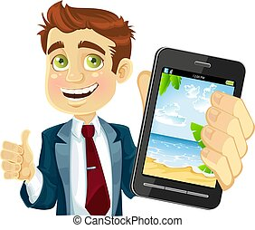businessman shows a photo resort - businessman in a suit ...