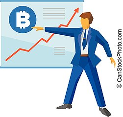 Businessman shows a poster with bitcoin and growing charts