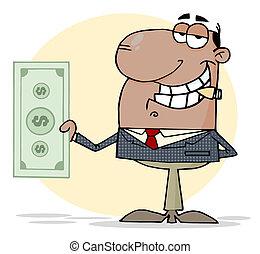 Businessman Shows Big Dollar - Hispanic Businessman Smoking...