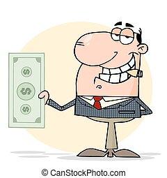 Businessman Shows Big Dollar - White Businessman Smoking A...