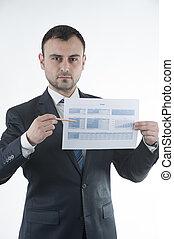 Businessman shows budget chart