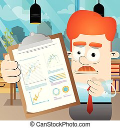 Businessman shows finance report. Business concept.
