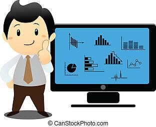 Businessman shows laptop's