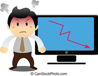 Businessman shows laptop's t