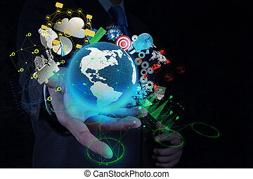 businessman shows modern technology of business