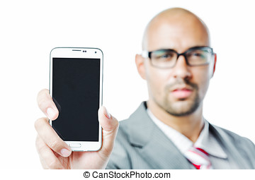 Businessman shows the screen of a smartphone isolated on...
