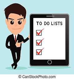 Businessman shows to do lists on tablet screen.