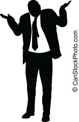A silhouette of a businessman giving an insincere shrug.