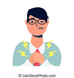 businessman sick with chest pain character vector illustration design