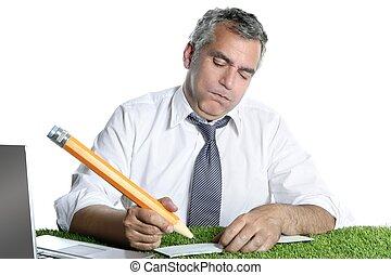 businessman sign bank check humor gesture big pencil - ...