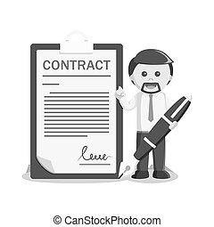 businessman sign contract letter black and white color style