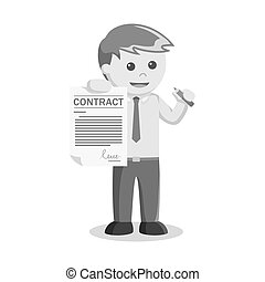 businessman sign contract paper black and white style