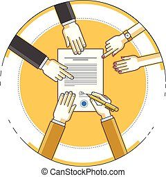 Businessman signs bank financial form of money credit with employees helps him and explains the terms of loan, contract signing vector illustration, top view of desk with people hands.