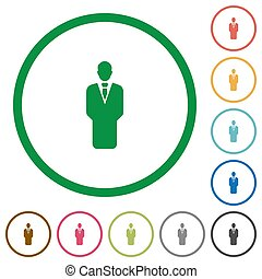 Businessman silhouette flat icons with outlines