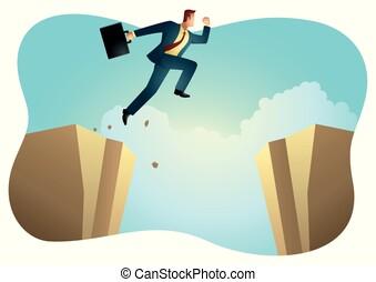 Businessman Silhouette Jump Ravine