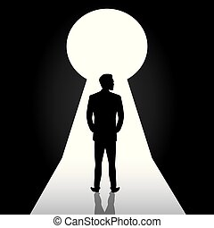 Businessman silhouette standing front of door keyhole, man in suit stand thinking, dreaming, planning