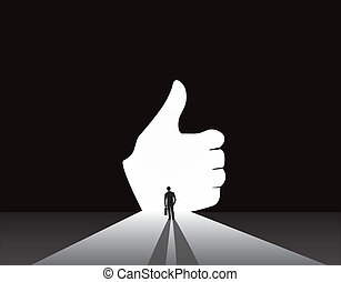 Businessman silhouette thumbs up